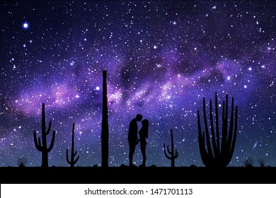 Lovers between cactuses in park at night. Vector illustration with silhouette of loving couple. Landscape with cacti. Space dark background with starry sky and Milky Way