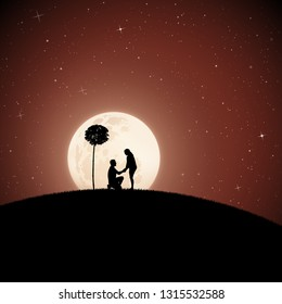 Lovers between trees on moonlit night. Vector illustration with silhouette of loving couple in park. Northern lights in starry sky. Full moon in starry sky