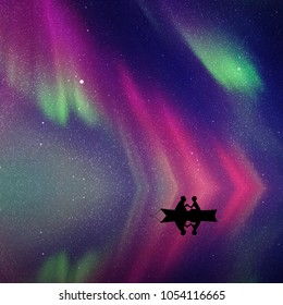 Lovers in boat at night. Vector illustration with silhouette of loving couple. Northern lights in starry sky