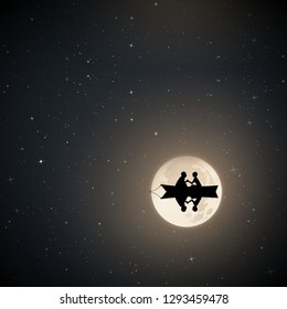 Lovers in boat on moonlit night. Vector illustration with silhouette of loving couple. Full moon in starry sky