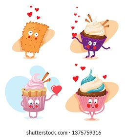 lovers cakes- vector characters set