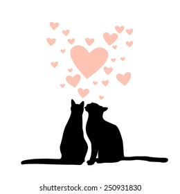 Lovers cats silhouette. Vector