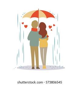 Lovers couple cartoon in the rain vector illustration