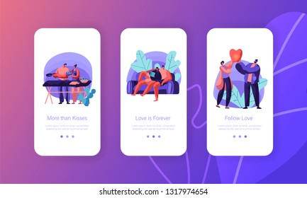 Lovers Couple Relax at Leisure Mobile App Page Onboard Screen Set. Man and Woman Prepare Salad for Picnic Launch Sky Lantern Lying on Sofa Concept for Website. Flat Cartoon Vector Illustration