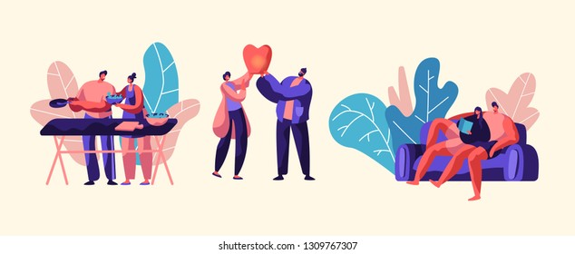 Lovers Couple Relax Outdoor at Weekend. Man and Woman Prepare Fresh Salad for Picnic. Boy and Girl Launch Sky Lantern in Park. People Lying on Sofa Flat Cartoon Vector Illustration