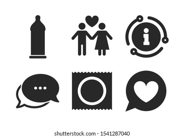 Lovers couple signs. Chat, info sign. Condom safe sex icons. Male love female. Speech bubble with heart. Classic style speech bubble icon. Vector
