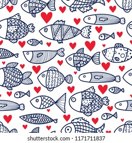 Lovers of fish. Cute vector line seamless pattern. Endless pattern can be used for ceramic tile, wallpaper, linoleum, textile, web page background.