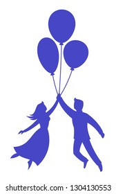 Lovers fly on balloons on a white background