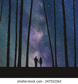 Lovers in forest. Vector illustration with silhouette of loving couple under starry sky. Can be used as postcard, illustration