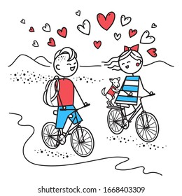 Lovers guy with backpacks and girl with little dog travel on bicycles. Little bike ride. Young people travel.Simple characters. Valentines Day illustration. Illustration for t-shirt, card, poster, bag