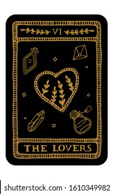 The Lovers. Hand drawn major arcana tarot card template. Tarot vector illustration in vintage style with mystic symbols, crystals and line art stars. Witchcraft concept for tarot readers