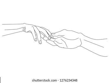 lovers hold hands. thin line. hand icon. linear drawing. stock vector illustration. tonkaya liniya. ikonka ruki. lneynyy risunok. vektornaya stokovaya llyustratsiya. stay home