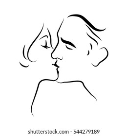 Couple Kissing Sketch Images, Stock Photos & Vectors | Shutterstock