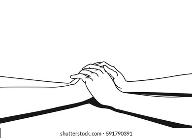 Lovers making clasping hands to share comfort feeling, vector illustration ink drawing style, black and white. Separated layer background, you can change color background easily.