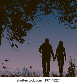 lovers at night, romantic nature background