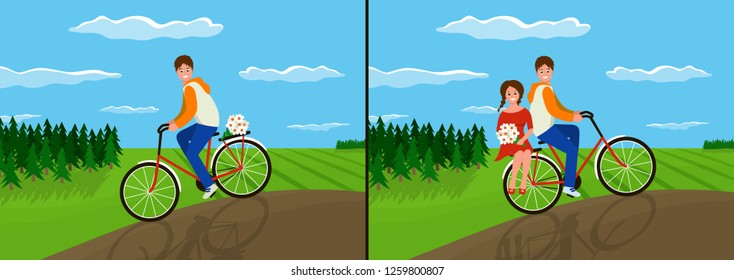 Lovers on a Bicycle. Summer holidays. Vector illustration in flat style