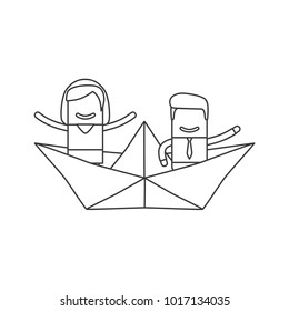 Lovers on a boat, vector illustration design. Love collection.