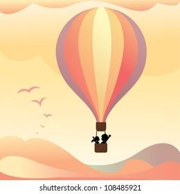 Lovers on hot air balloon
