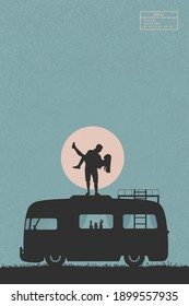 Lovers on retro car. Guy carry girl. Family road trip. People in love