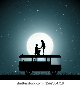 Lovers on roof of retro car on moonlit night. Romantic marriage proposal. Vector illustration with silhouette of loving couple. Family road trip. Full moon in starry sky