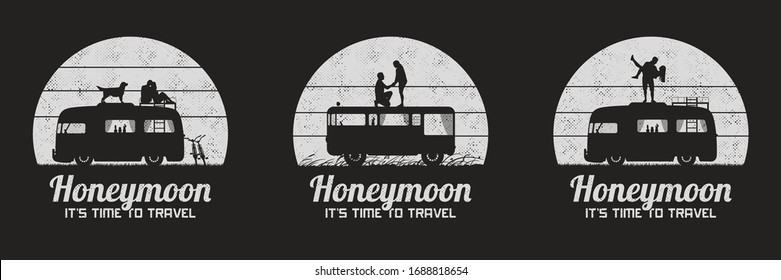 Lovers on roof of retro car. Set of black and white retro illustrations with silhouettes of couples in road trip. Guy carry girl, romantic marriage proposal. Vector backgrounds for prints, t-shirts