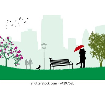 Lovers in a park under red umbrella, vector illustration