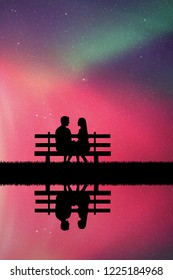 Lovers sitting on bench in park at night. Vector illustration with silhouette of loving couple. Northern lights in starry sky. Colorful aurora borealis
