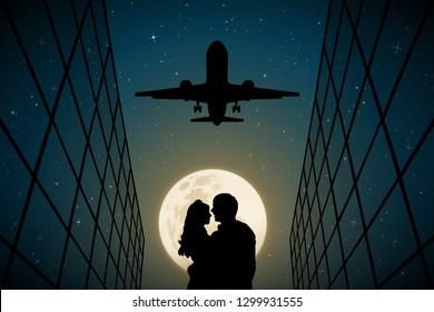 Lovers under flying plane on moonlit night. Vector illustration with silhouette of loving couple. Full moon in starry sky
