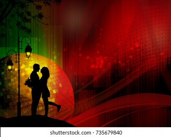 Lovers under street lamp poster or banner on abstract background, vector illustration