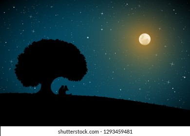 Lovers under tree on moonlit night. Vector illustration with silhouette of loving couple. Full moon in starry sky