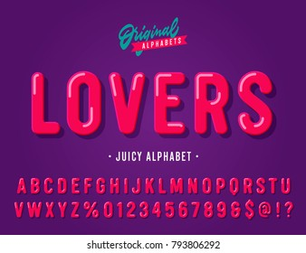 'Lovers' Vintage Sans Serif Juicy Rounded Alphabet. Retro Typography with Rich Colors. Vector Illustration.