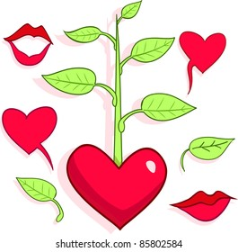 Love's patterns, hearts, lips, tree and leaves.. All objects are separated, they can be scaled or recolored without any problems and quality loss.