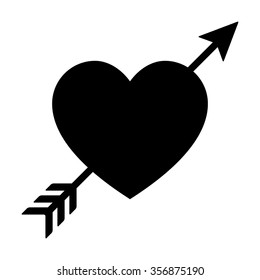 Lovestruck or arrow through heart flat vector icon for apps and websites