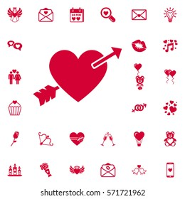 Lovestruck or arrow through heart flat icon for apps and websites. Set of Valentines icons