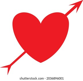 Lovestruck or arrow through heart vector,  flat  icon, heart icon with arrow for apps and websites