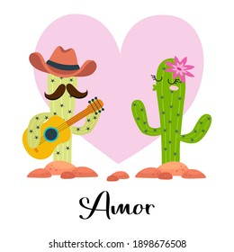 loving cactus with guitar with heart on white Amor - Love
