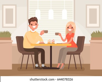 Loving couple is drinking coffee in a cafe. A man and a woman are sitting at a table in a cozy restaurant. Vector illustration in a flat style