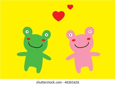 loving couple of frog