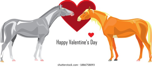 A loving couple of horses with Happy Valentine's Day greeting. Vector illustration