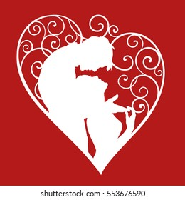 Loving couple inside decorative heart with curls. White sketch silhouette on red background. For wedding and Valentine day cards and invitations.