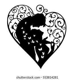 Loving couple inside decorative heart with swirls and butterflies. Black silhouette isolated on white background. For wedding and Valentine day cards and invitations.