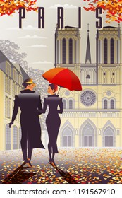 Loving couple in Paris in the fall. Handmade drawing vector illustration. All objects are grouped and divided into layers.