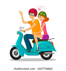 Loving couple riding scooter. Journey, travel concept. Cartoon vector illustration