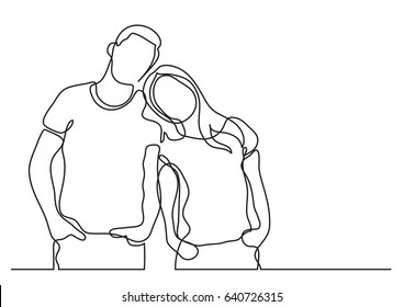 loving couple standing - continuous line drawing