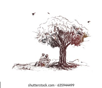 Loving couple under a big tree in the park, Hand Drawn Sketch Vector illustration.