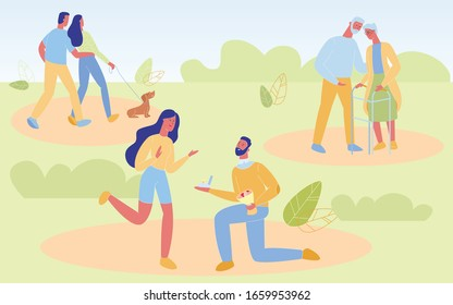 Loving Couples on Nature Background. Young and Senior People in Love Spend Time Together, Walking in Park with Pet, Gifting Engagement Ring, Human Romantic Relations. Cartoon Flat Vector Illustration