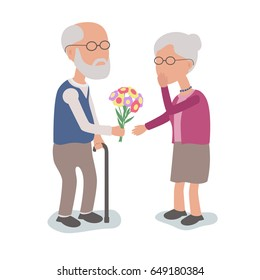 Loving Elderly Man gives flowers to Wife - vector characters body parts grouped and easy to edit - limited palette