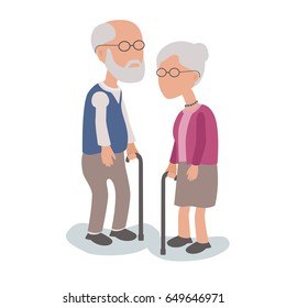 Loving Elderly Man and Woman Couple standing with walking sticks - vector characters body parts grouped and easy to edit - limited palette