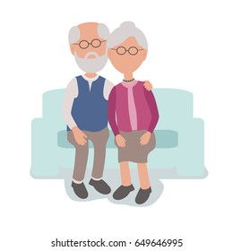 Loving Elderly Man and Woman Couple Sitting hugging on couch - vector characters body parts grouped and easy to edit - limited palette