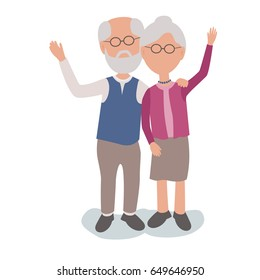 Loving Elderly Man and Woman married Couple hugging and waving - vector characters body parts grouped and easy to edit - limited palette